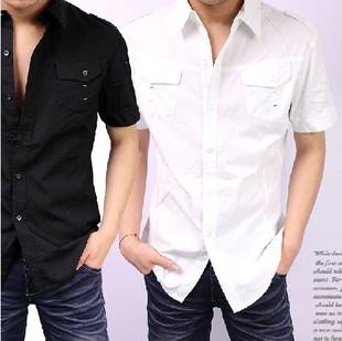 2014夏季 剪标肩章双袋 男短袖衬衫衬衣 黑白