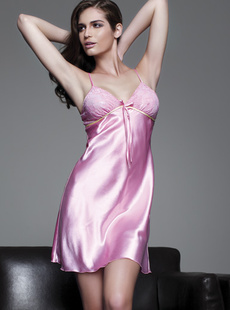 Basha dreams Pajamas soft imitation silk Camisole dress Pink Lady 010411120