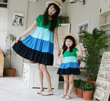 Family fitted full summer travel essential home improvement home Dress 2013 Korean version of the summer short-sleeved dress mother and daughter