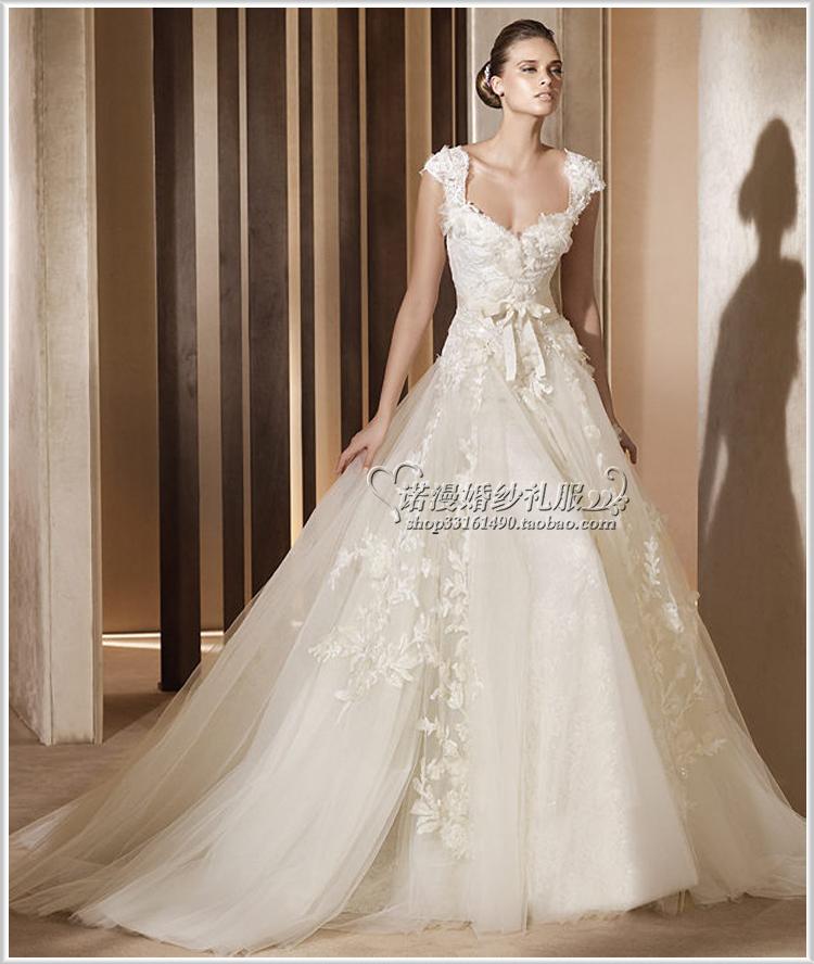 2013新款婚纱礼服明星同款韩版包肩欧美风蕾丝小拖尾显瘦公主婚纱
