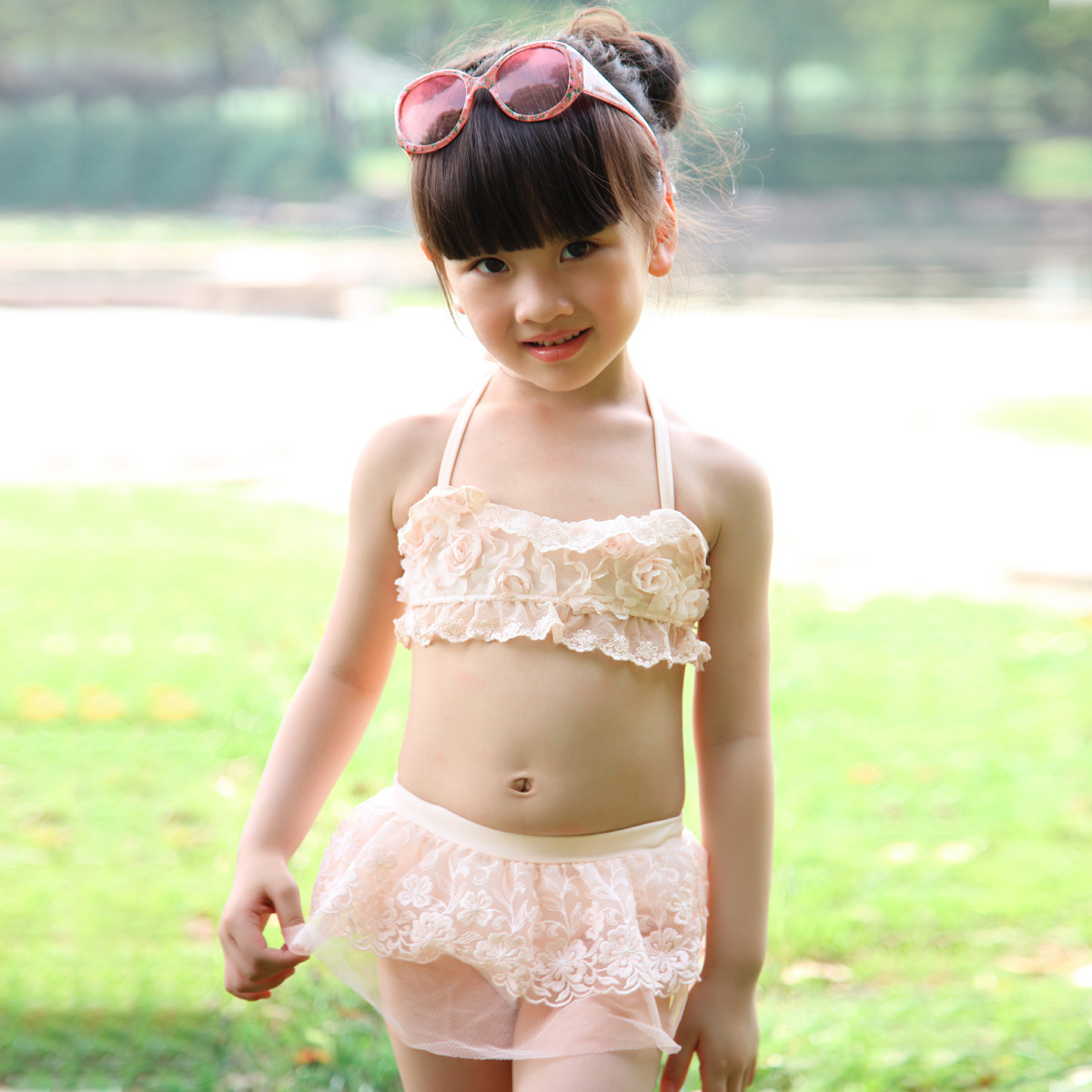 children's clothing girls children split swimsuit 2012 summer models