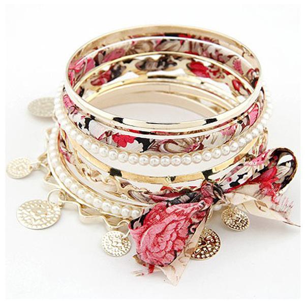韩版蝴蝶结多层手镯 多层布艺珍珠手镯 波浪硬币吊坠丝带手环