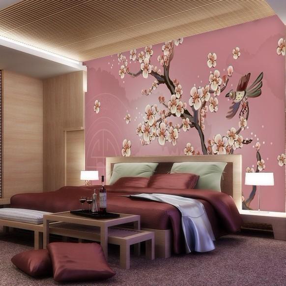 大型壁画中式风格矢量粉红色桃花/卧室床头背景墙纸壁画/沙发背景图片
