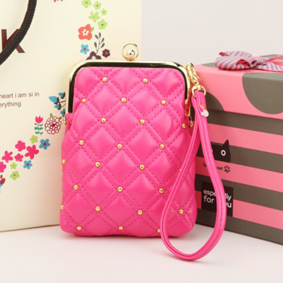 Free shipping purse rivets Korean sweet lady hand carry key large-capacity multi-functional mobile wallet coin