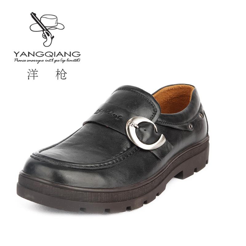 洋枪 男鞋男士商务休闲鞋正品真皮皮鞋懒人鞋子男流行潮鞋