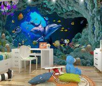 三3D壁画订制特效海底世界绿色环保墙纸壁纸电视背景墙儿童房 pvc