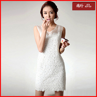 Pre-sale package post-2012 Summer dress white lace dress sleeveless skinny skinny mosaic Pack hip vest dress