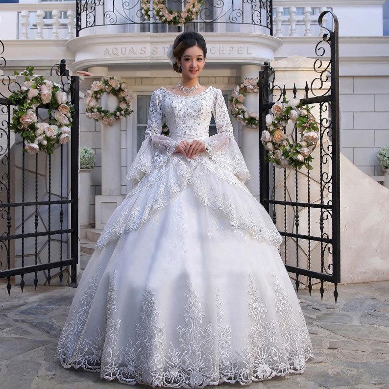 长袖包肩皇室宫廷婚纱礼服齐地蕾丝古典豪华大气甜美婚纱hsm-159