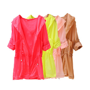 2012 new color spring clothing, eye-catching fluorescent light thin rope pulling  conditioning shirt Sun even Cap coat WW2495