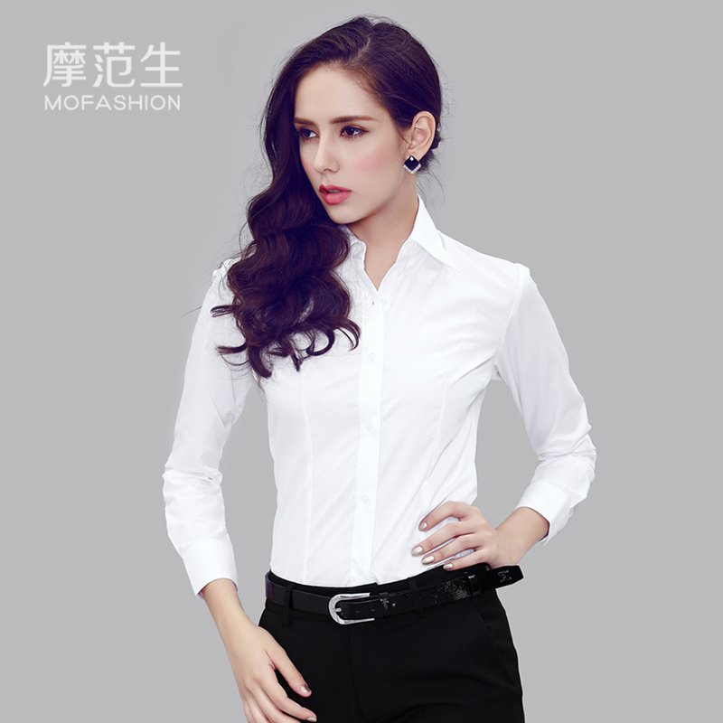 White shirt women long sleeve shirt render small and pure and fresh wash-and-wear cotton cultivate one's morality shirt business attire