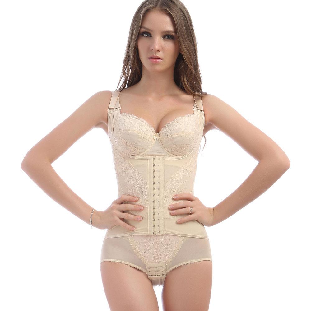 夏季无袖薄款瘦身内衣 三角连体塑身衣排扣可调节 前扣加强束身衣