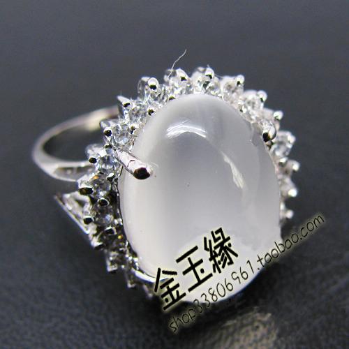 给力推荐925银镀精品戒指白金天然特大月光石戒指妈妈女友生日节日礼物