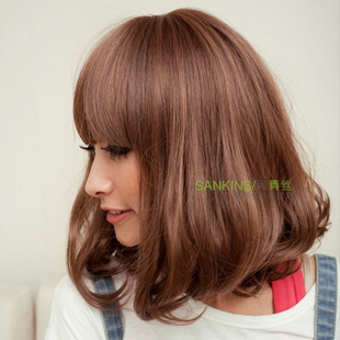 Black hair woman wig wig long Qi Liuhai summer short volumes in PEAR head girls long fluffy wig
