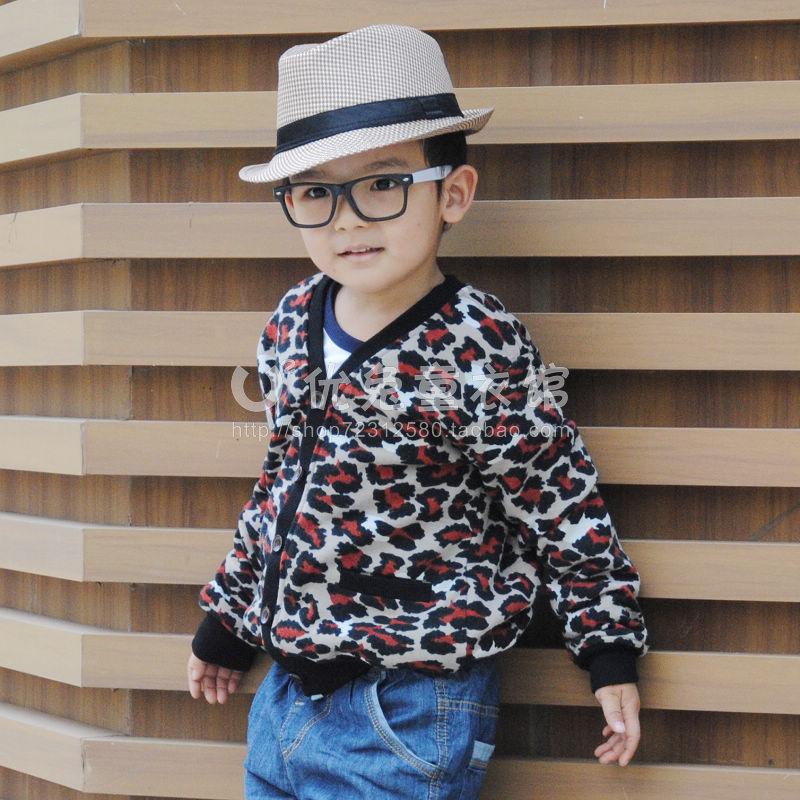 韩版豹纹开衫外套男童女童百搭加绒豹纹外套棉袄棉服 自留款