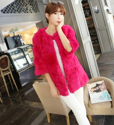 Rabbit fur coat slim women O Neck