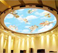 圆形吊顶 天花板墙纸画 欧式天使蓝天白云 大厅客厅屋顶背景壁纸