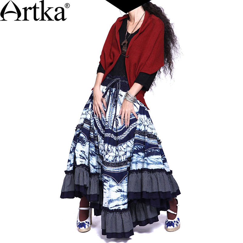 Artka Akkadian stunning new women's spring series of tie-dyed tie-dye YujiaaoNetwork big swing skirt A05171