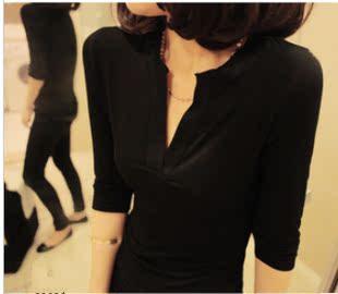 加大码秋装 性感V领纯棉中长款打底衫纯色中袖T恤女