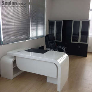 Shanghai office furniture factory outlet, SenLon modern boss desk 1.8 m white Executive desk