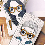 Special iphone4s4 cellphone shell Apple the 44s Leather Case Korea cartoon glasses boy girl couple models