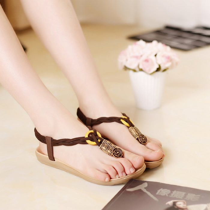 2015 spring and summer new bohemian beaded clip toe flat flat with sweet beach sandals Korean female students