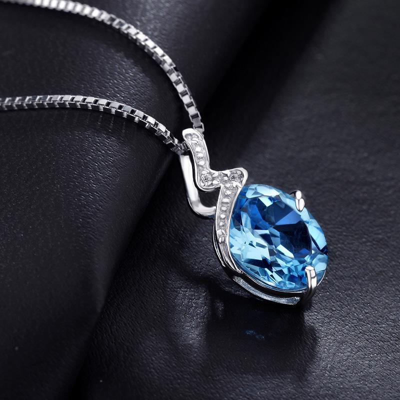 天然托帕石项坠蓝黄玉宝石吊坠项链纯银饰品sp0105b女