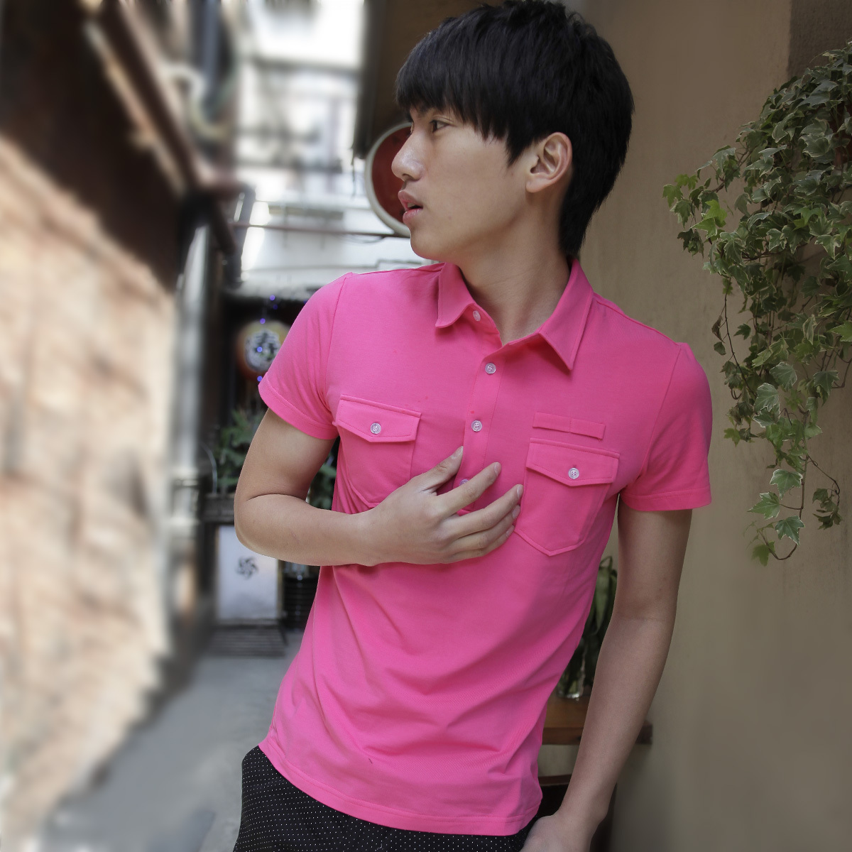 Рубашка поло Owenwong wu21b070 POLO B070 Однотонный цвет Лето 2012 Классический рукав Короткие рукава (длина рукава <35см)