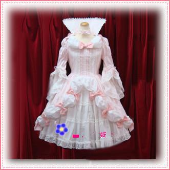 女王的裙摆txt书包_flower lolitaの粉色泡泡藕节蝴蝶结裙摆喇叭袖宫廷女皇装(l27)