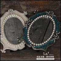 俄罗斯古典台式双面化妆镜 欧式台镜美容镜 金属椭圆形彩绘镜子