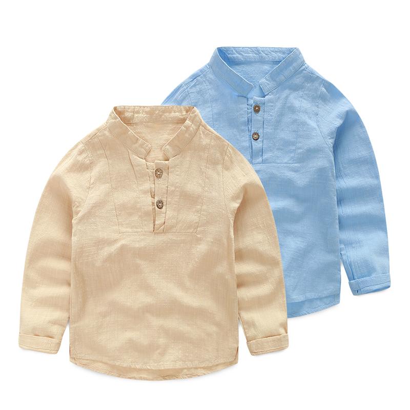 儿童装长袖亚麻衬衣2015秋款男童上衣韩版宝宝纯色立领棉麻衬衫潮
