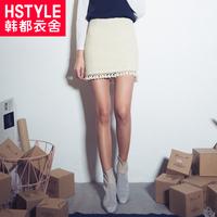 韩都衣舍冬季新品时尚百搭女装高腰流苏气质白色半身裙短裙