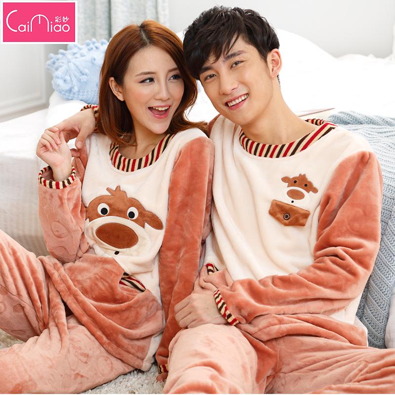 彩妙冬季可爱情侣睡衣珊瑚绒女加厚法兰绒长袖睡衣服