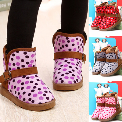 Ha Meng 2014 new winter snow boots child models Polka Dot Girls Shoes boy padded boots warm boots