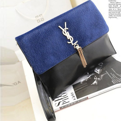 2014 new European and American women's fashion double horsehair leopard fringed bag banquet bag envelope handbag Shoulder Messenger