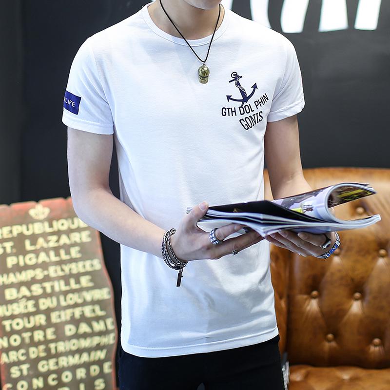 夏季男士短袖t恤青少年韩版修身圆领印花体恤男纯棉潮流半袖上衣