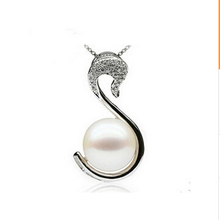 Iraq even xin S925 pure silver swan pendant jewelry Natural freshwater pearl necklace Pendant to send his girlfriend quality goods