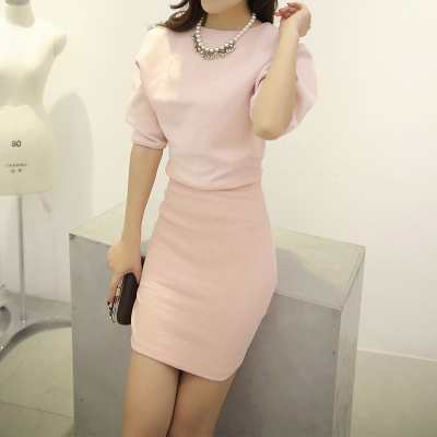 Jane element to skirt US 2014 autumn and winter wool knitted dress package hip skirt bottoming Slim thin sleeve dress