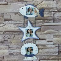 地中海风格装饰相框 木制鱼串海星相框 三联贝壳实木相框