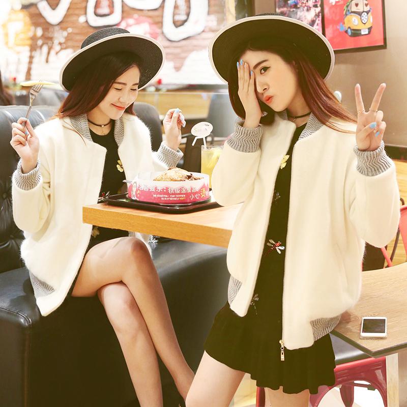 随启毛呢外套2016新款韩版bf春装大码加棉装潮学生短秋冬季外套女