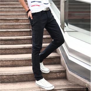 港风秋冬男士修身小脚裤 纯色牛仔裤男款时尚韩版收脚青年裤男