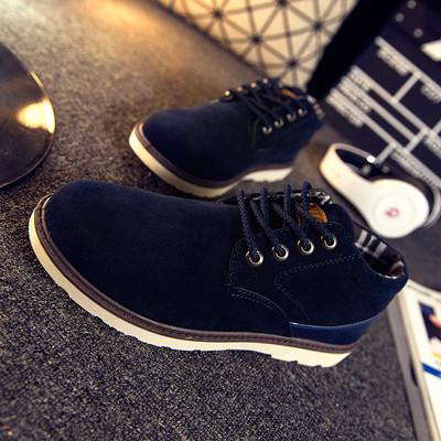秋季男士休闲鞋男鞋透气潮流运动板鞋韩版夏鞋子男耐磨砂皮鞋系带