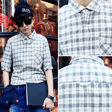 Millions of shop 2015 spring do old fashion leisure male new flannel grid model of 7 minutes of sleeve shirt