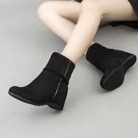 2016新款女靴子秋冬款坡跟内增高短靴绒面中筒女靴弹力布短筒冬靴