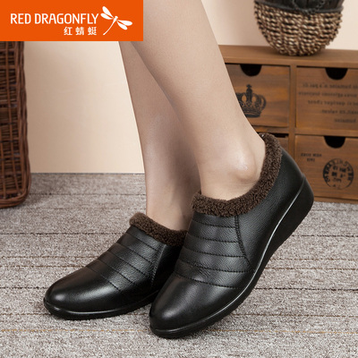 Red Dragonfly female cotton-padded winter 2014 new genuine leather comfort casual shoes feet warm mom's shoes
