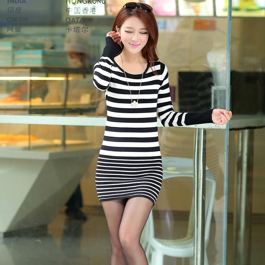 2014秋冬新品韩版女装中长款修身条纹针织衫 女式套头弹针织裙子