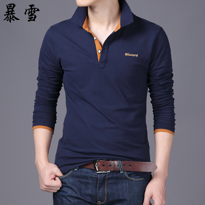 Blizzard new winter atmospheric simple solid color cotton shirt POLO men hit the color lapel long-sleeved t-shirt men tide