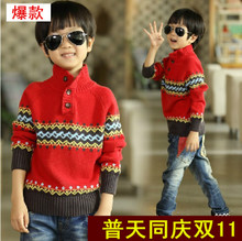 The 3-4-5-3-4-5 - the 9-10-11 - year - old boy of new fund of 2014 autumn winters is knitted collar more cotton sweaters