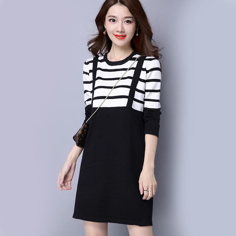 秋冬新款毛衣连衣裙女韩版时尚条纹假两件圆领长袖中长款针织裙子