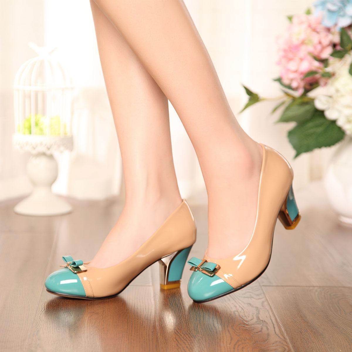 karoe卡罗尔时尚新款女鞋单鞋套脚 pu粗跟职业女鞋夏舒适6659