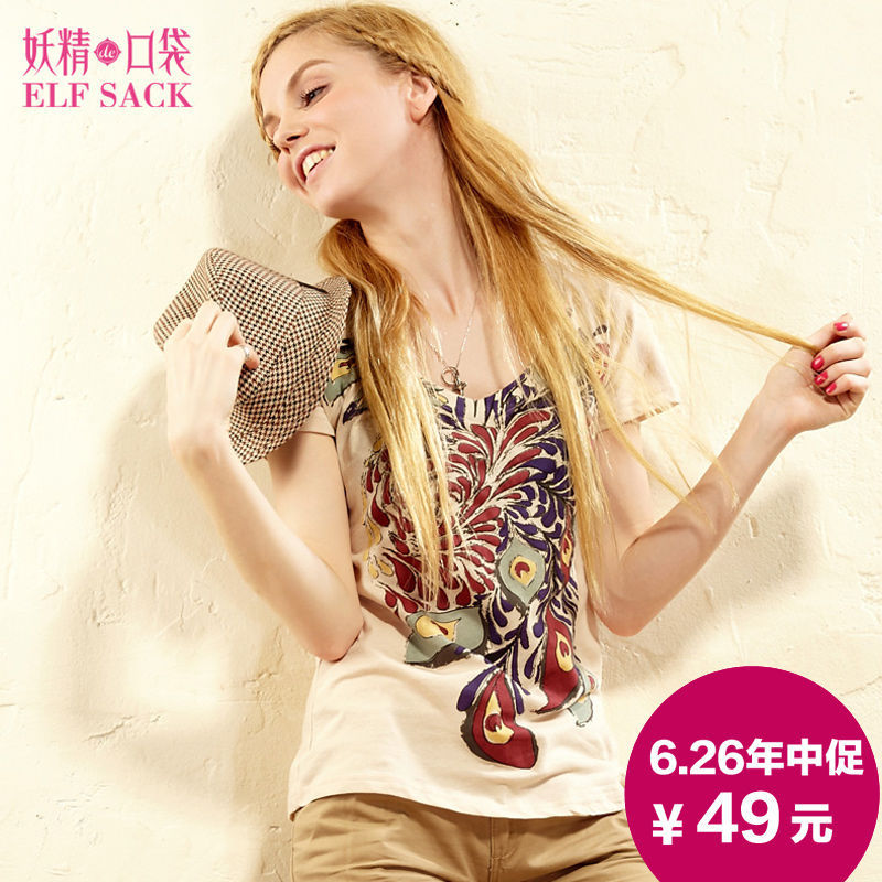ELF SACK Look! A sparrow! Woman printed t-shirts round collar Taobao Agent
